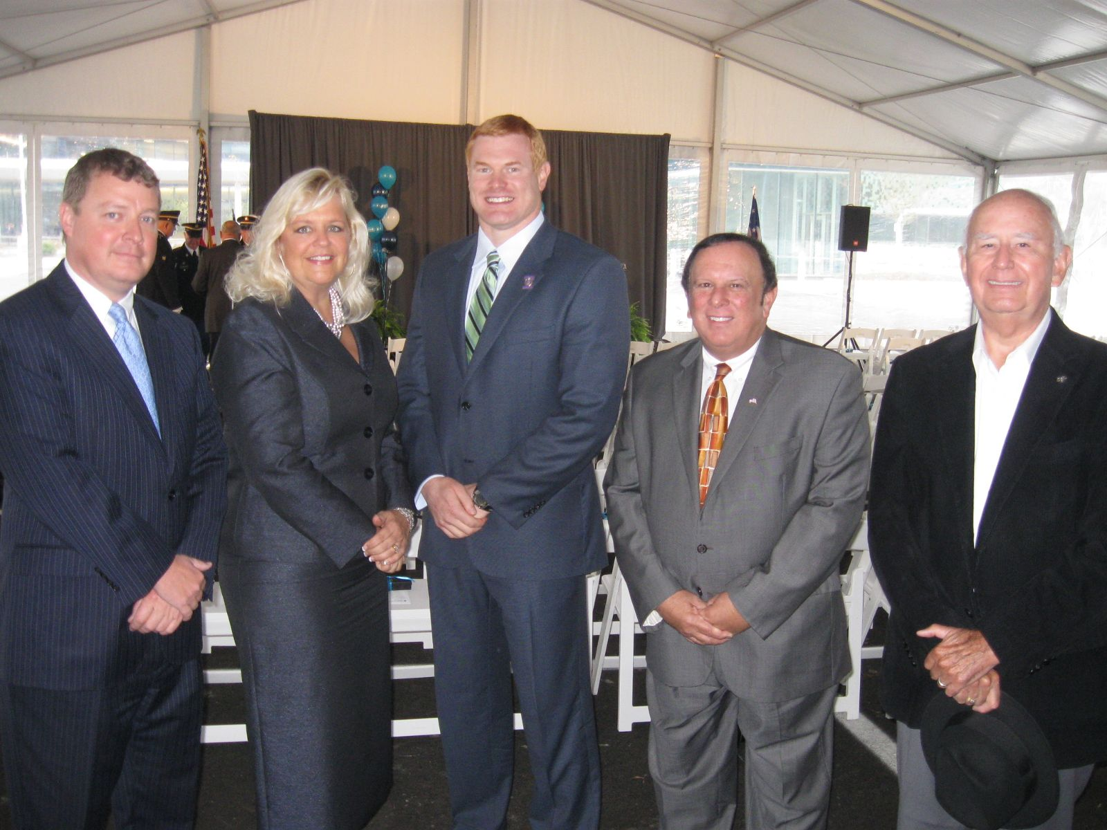 Image of Trustee David Linnenberg, Clerk of Courts Tracy Winkler, Trustee Rocky Boiman. Trustee Tony Rosiello and Former Green Township Trustee Tony Upton attend the ribbon cutting for the new Mercy Health - West Hospital