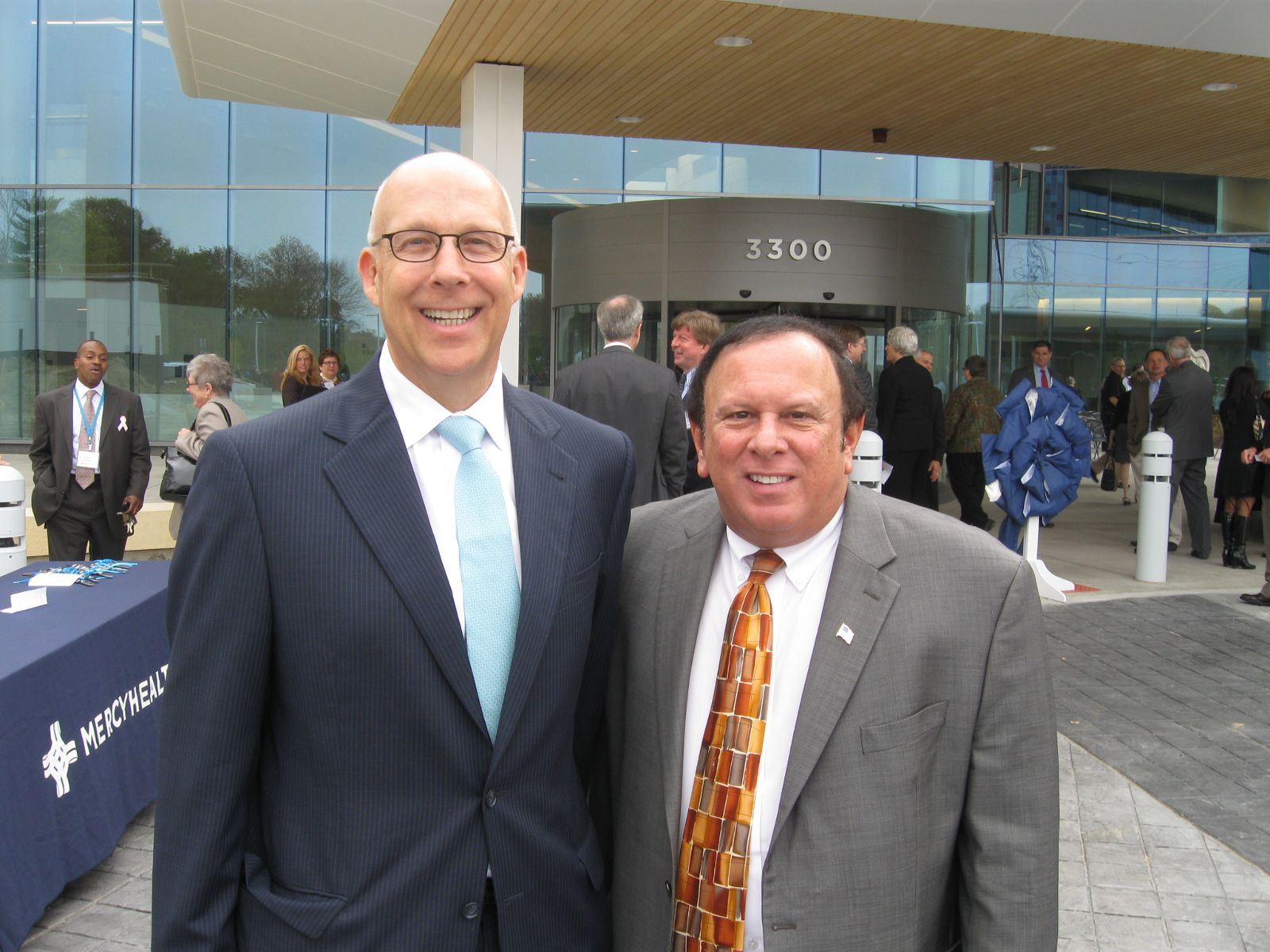 Image of James May, Chief Operating Officer for Catholic Health Partners and Trustee Tony Rosiello attend the tour of the new Mercy Health - West Hospital