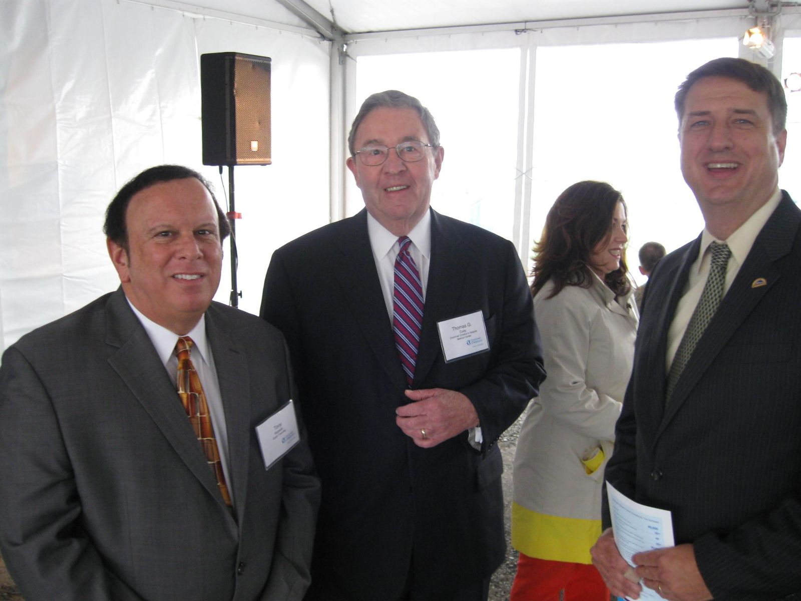 Image of Trustee Tony Rosiello with Thomas Cody, Chairman of the Board of Children's Hospital and Hamilton County Commissioner, Chris Monzel
