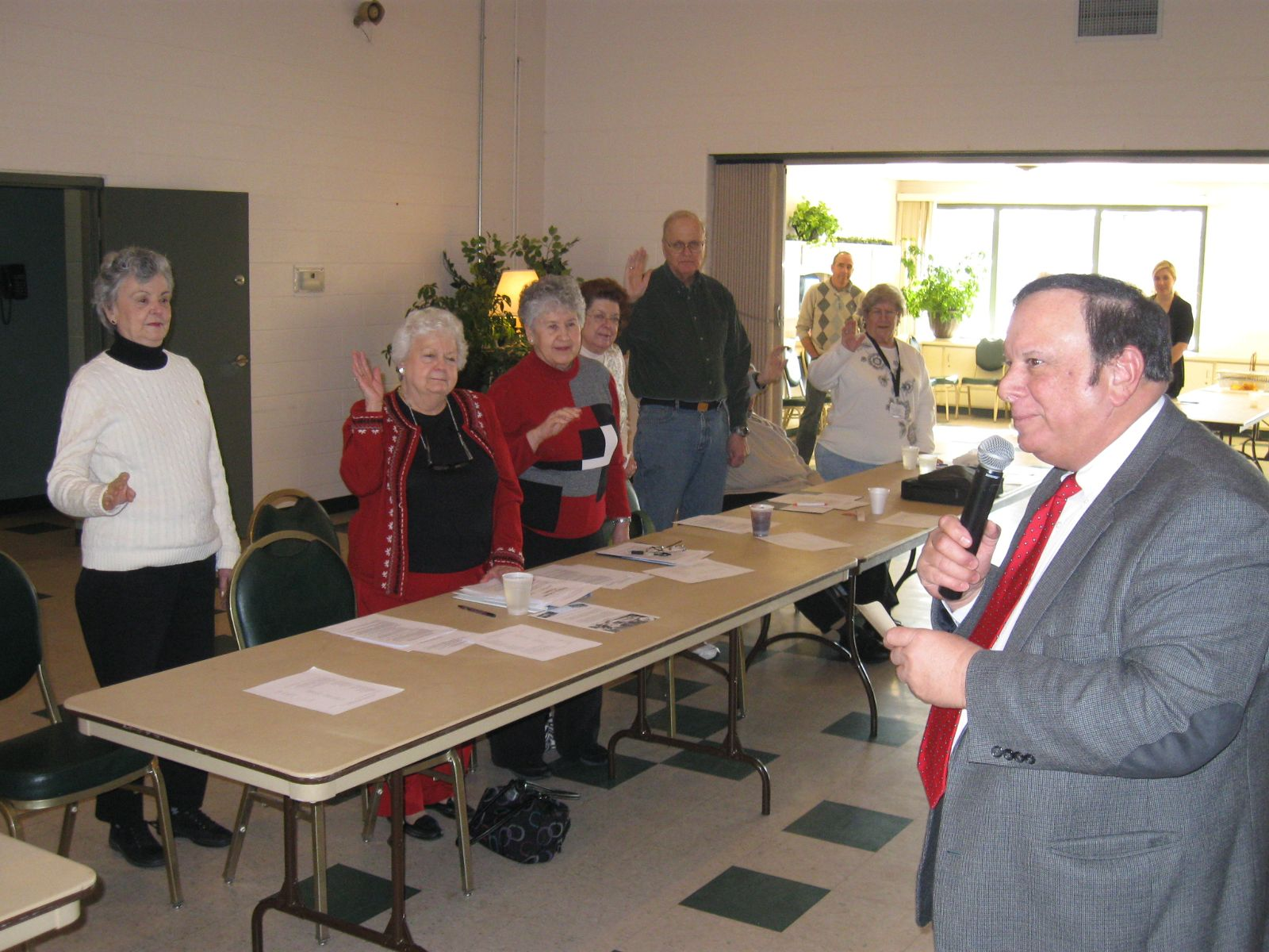 Image of Trustee Tony Rosiello swearing in the new Officers of the Green Township Senior Center