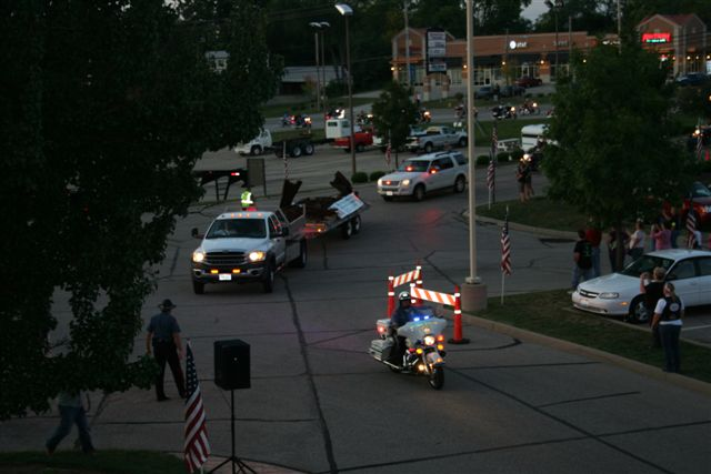 Image of 911 Steel Beam Arriving at Administration Building